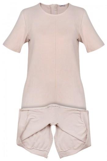 CAROLINE Damski  kombinezon z krótkimi rękawami i nogawkami. Zamek na plecach i w kroku