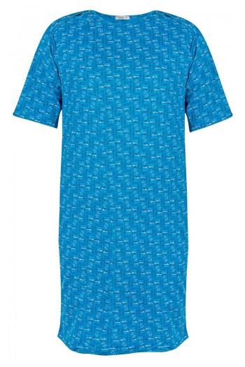 DAVID Męska koszula nocna z wyciętym tyłem. Zakładana przez głowę,  szeroki dekolt