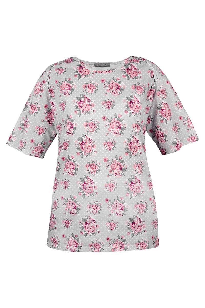 ROSE Damska koszulka z wycięciem z tyłu. Zakładana przez głowę, szeroki dekolt.
