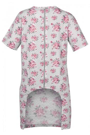 BLANCA Damska koszula nocna z wyciętym tyłem. Zapinana na zamek.