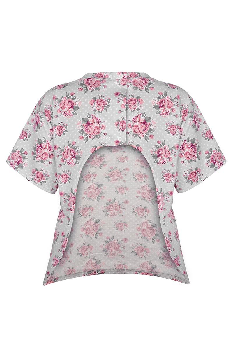 LUCY Damska koszulka z wyciętymi plecami. Zapinana na napy