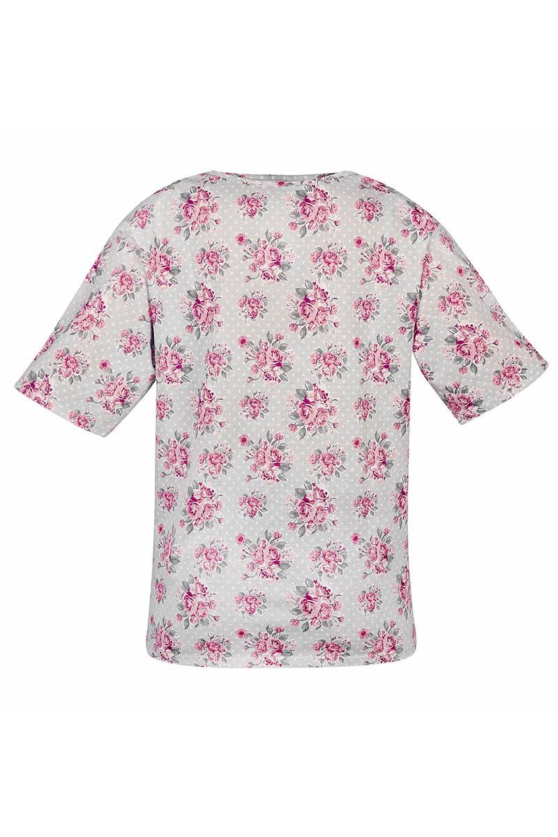 OLIVIA Damska koszulka zakładana przez głowę. Tył pełny, szeroki dekolt