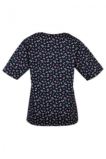 OLIVIA Damska koszulka zakładana przez głowę. Tył pełny, szeroki dekolt.